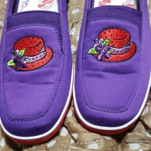 7.5 purple red hat slip on shoes